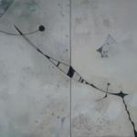ohne Titel, Mischtechnik auf Leinwand, zweiteilig, 80x 50, 2016