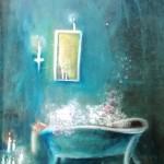 Badetag I, Öl auf Repro, ca. 30x50, 1999