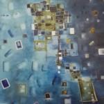 Blautime, Mischtechnik auf Papier, 36x48, 2002