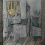 Verrücktes Bild I, Mischtechnik auf Pappe, ca. 30x40, 1997