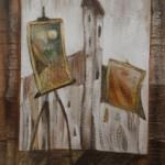 Verrücktes Bild IV, Mischtechnik auf Pappe, ca. 30x40, 1997