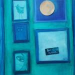 Selbstporträt für die Ausstellung Malverwandtschaften II, Collage & Mischtechnik auf Leinwand, 50x70, 2008