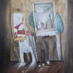 Verrücktes Bild VI, Mischtechnik auf Pappe, 40x60, 1998