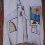 Verrücktes Bild IX, Mischtechnik auf Pappe, 30x50, 1999