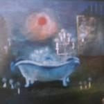Badetag II, Öl auf Repro, ca. 50x30, 1999