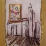 Verrücktes Bild X, Mischtechnik auf Pappe, 37x52, 1999