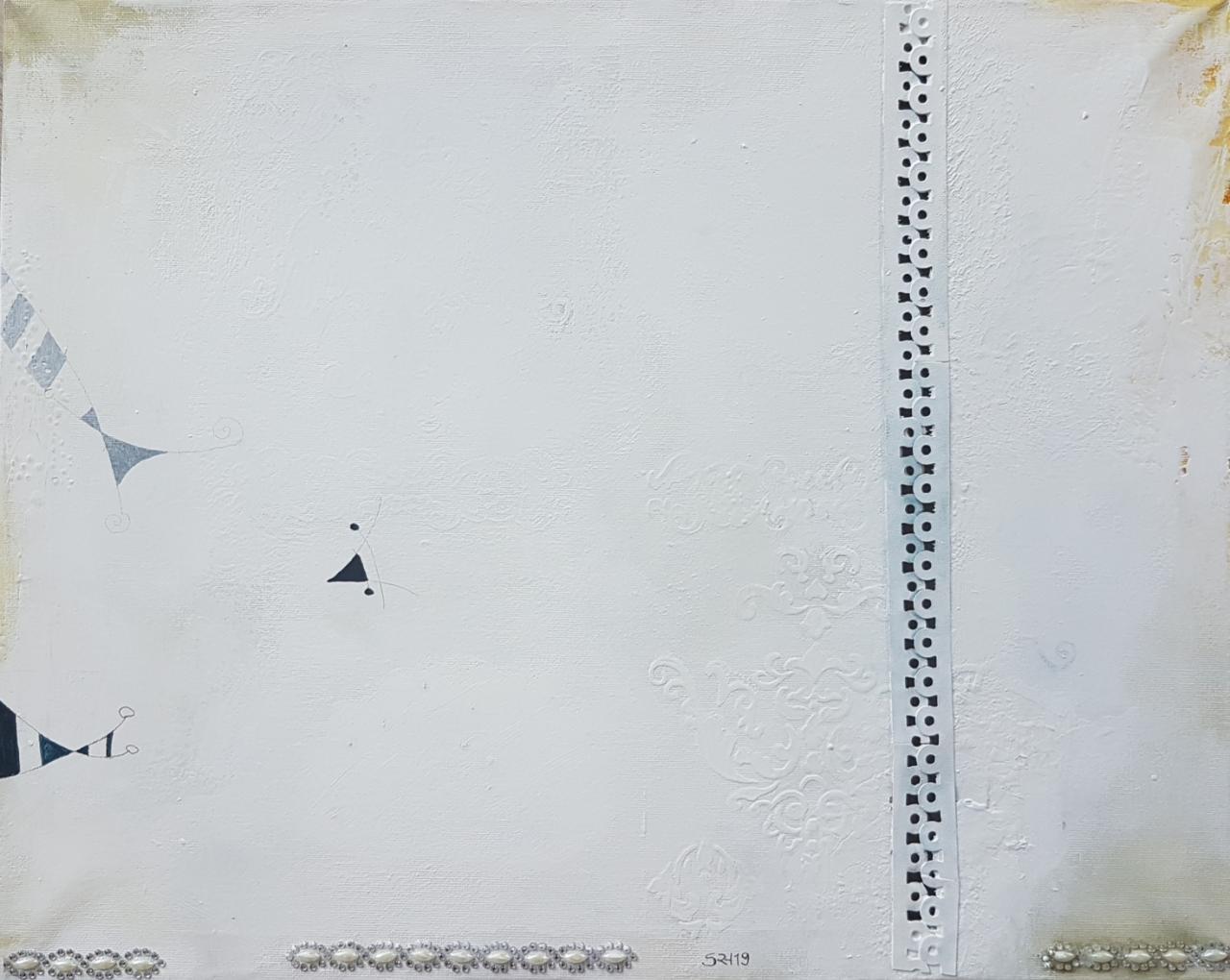 Nr.4/ohne Titel, Mischtechnik auf Leinwand, 60x40, 2019