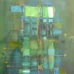 Blau gewinnt, Mischtechnik auf Papier, 30x40, 2002