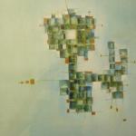 Blauäugig betrachtet, Mischtechnik auf Papier, 36x48, 2002