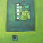 In Blau liegt Wahrheit, Mischtechnik auf Papier, 36x48, 2002