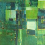 Blau divergiert, Mischtechnik auf Papier, 30x41, 2002