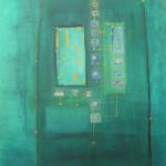 Blue Screen, Mischtechnik auf Papier, 38x41, 2002