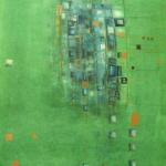 Blue Green, Mischtechnik auf Papier, 36x48, 2002