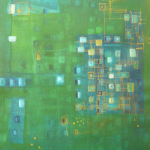 Green Blue, Mischtechnik auf Papier, 36x48, 2002