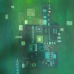 Blau Grün Blau, Mischtechnik auf Leinwand, 50x70, 2003