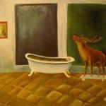 Hirsch im Bad, Öl auf Repro, 69x48, 1999