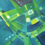 Blau spielt Golf, Mischtechnik auf Leinwand, 70x50, 2003