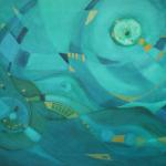 Blauer Tag am Meer, Mischtechnik auf Leinwand, 70x50, 2003
