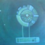 Blau ist messbar, Mischtechnik auf Leinwand, 70x50, 2003