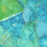 Die Unendlichkeit ist Blau, Mischtechnik auf Pappe, 51x41, 2003