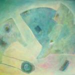 ohne Titel, Mischtechnik auf Hartfaser, 93x64, 2002