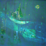 Traumschiff, Mischtechnik auf Hartfaser, 78x58, 2003