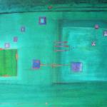 Blauplatz, Mischtechnik auf Papier, 33x41, 2002