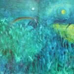 Regenbogenbild, Öl auf Papier, ca. A2, 1997