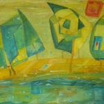 Elbe mal anders, Mischtechnik auf Pappe, 80x60, 1998