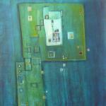 Blaues Wunder, Mischtechnik auf Papier, 30x40, 2002